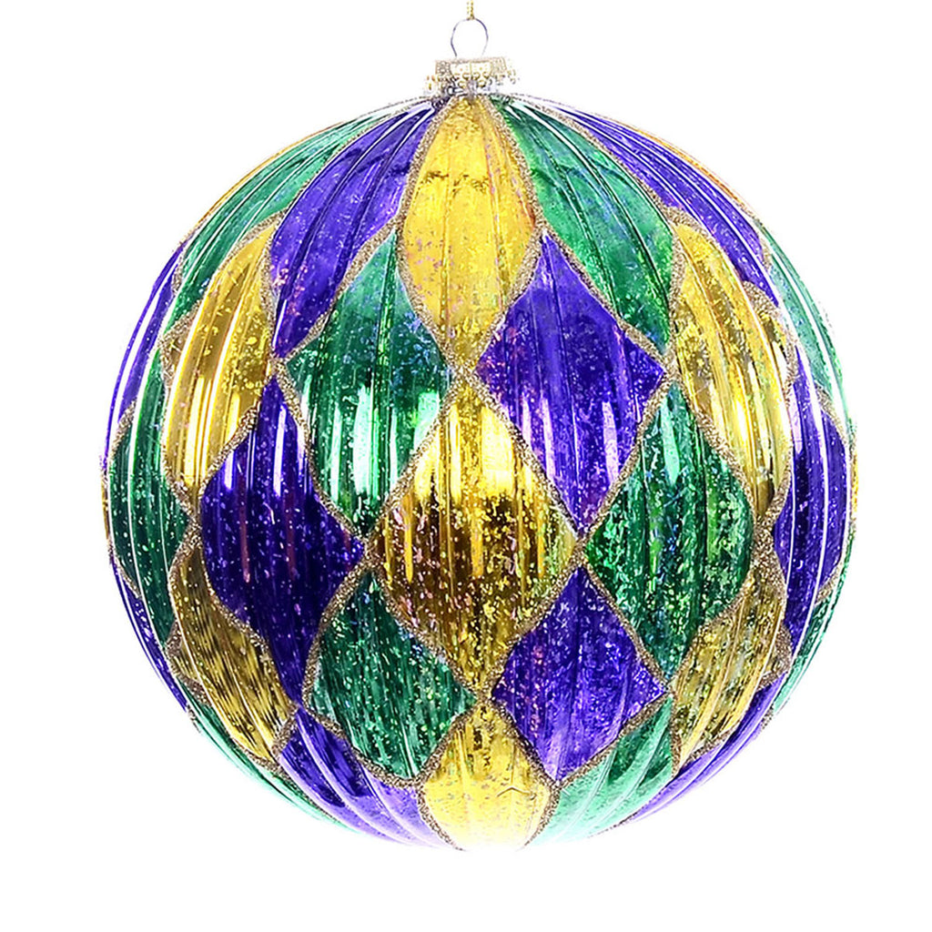 "8"" Purple Gold Green Diamond Pattern Ball"