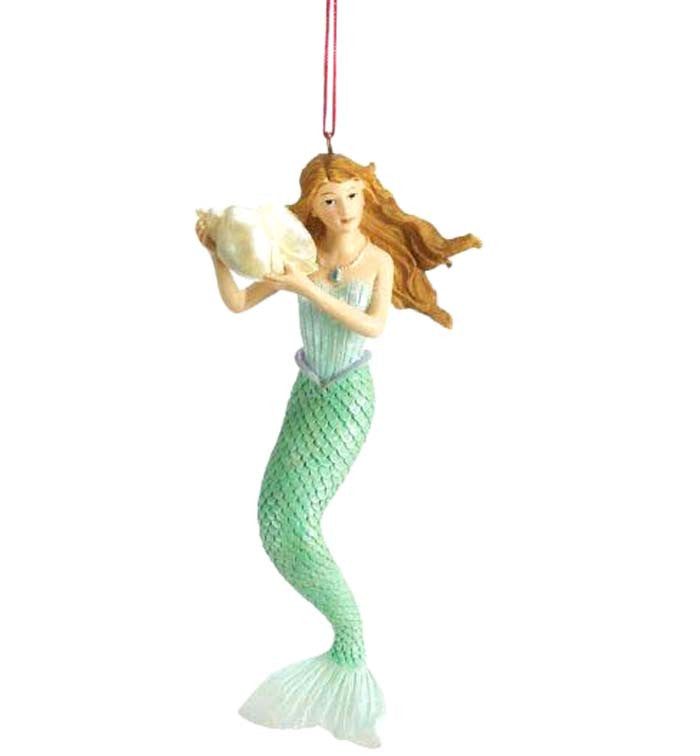 Aquamarine Mermaid Seashell Ornament