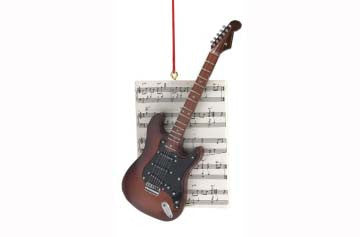 Guitar with Sheet Music Electric Ornament