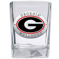 Georgia Bulldogs Square Shot glass w/ Pewter & Enamel