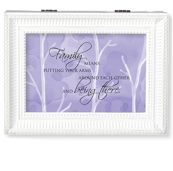 """Family means....Being There"" White Large Music Jewelry Box"