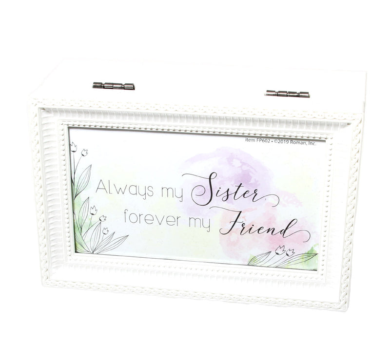 """Always my Sister.. Forever my Friend"" White Small Music Box"