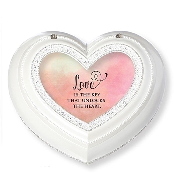 """Love is the Key..."" White Heart Music Jewelry Box"