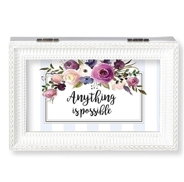 """Anything is Possible"" White Small Music Box"
