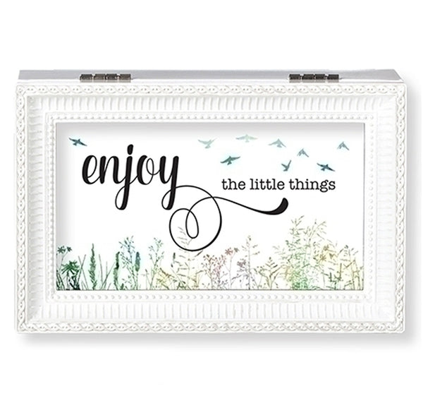"""Enjoy the Little Things"" White Small Music Box"
