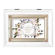 """My heart...your love..."" Large White Music Box"