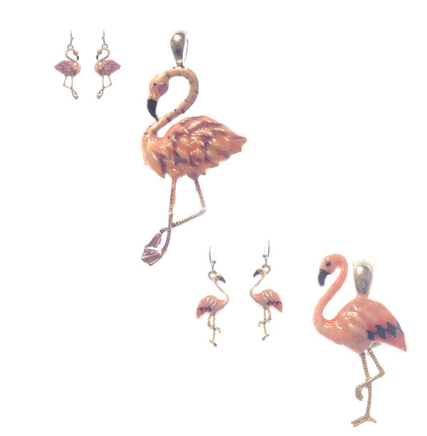 Flamingo Pendant & Earrings