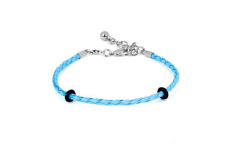 "LuLu Leather Bracelet Lobster Claw Aqua Regular 7""-8"""