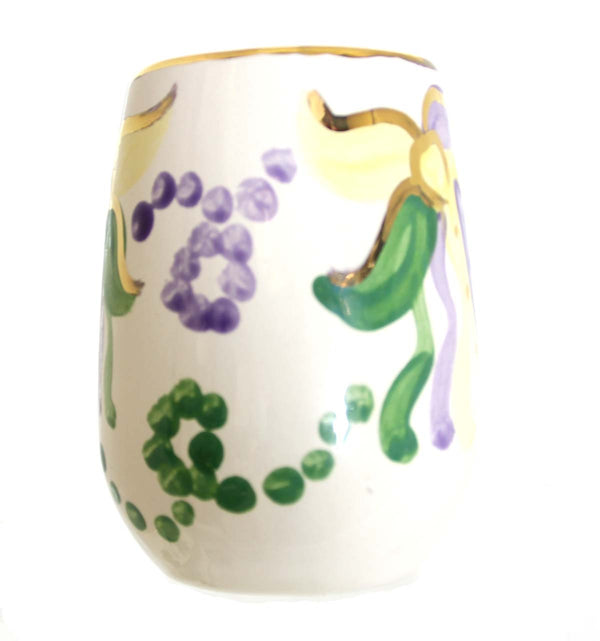 Mardi Gras Stemless Wine Glass, Ceramic