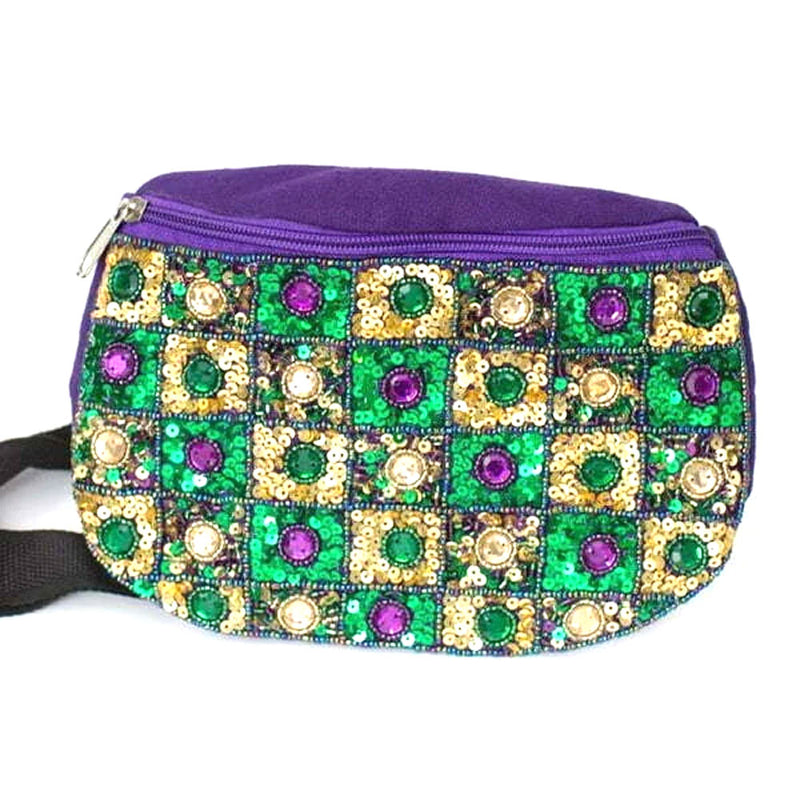 "8.5""X5""X17"" Belt Tic-tac-toe Jeweled Fanny Pack"