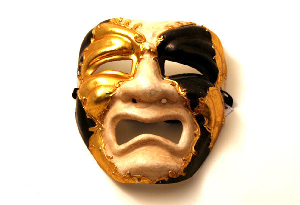 Theater Mask Tragedy Black & Gold