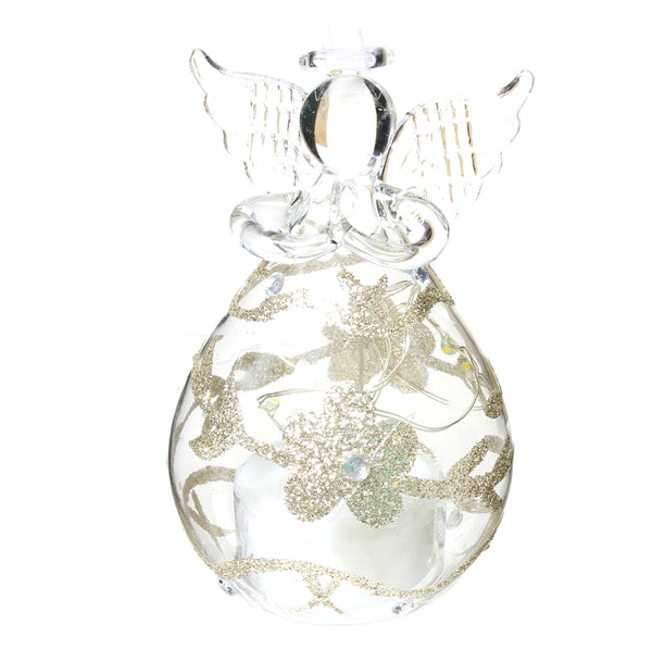"4"" LED Glass Glitter Angel Ornament"