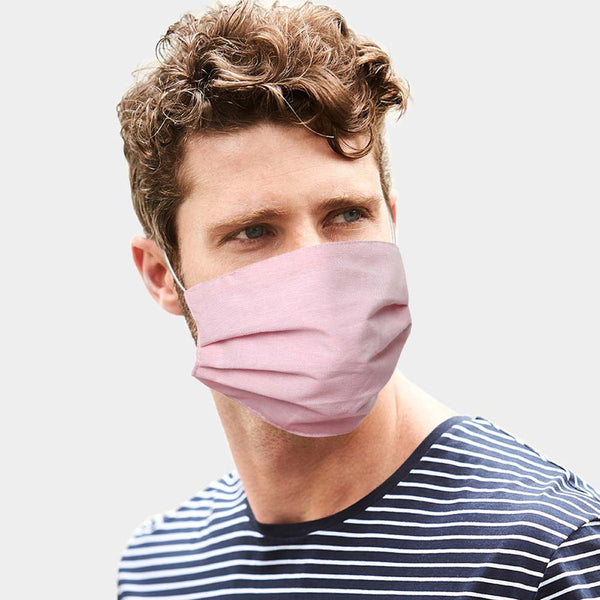 Pink Pleat Face Mask (Cotton)