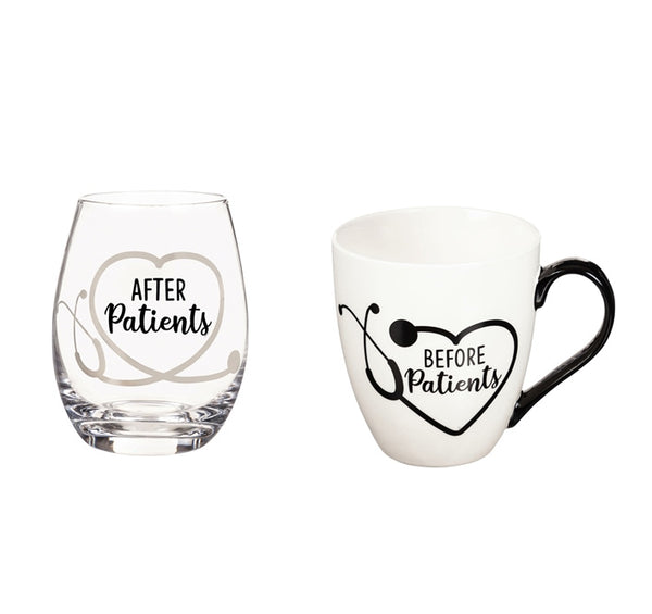 Ceramic Cup and Stemless Wine Gift Set, Before Patients & After Patients