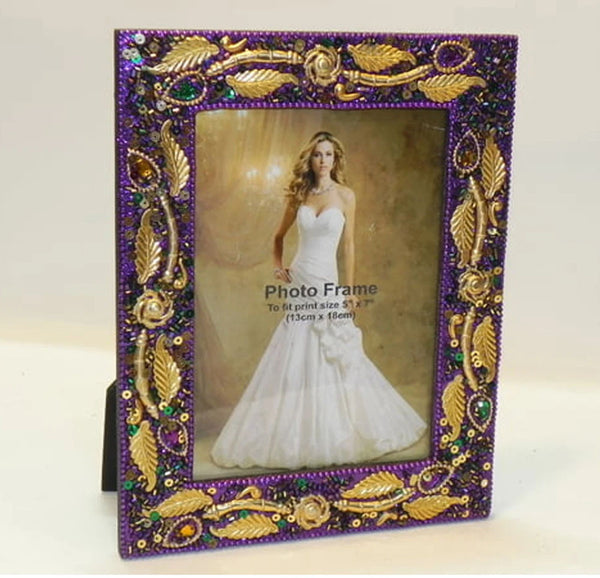 "4"" X 6"" PURPLE BEADED & SEQUIN MARDI GRAS FRAME W/GOLD LEAF"