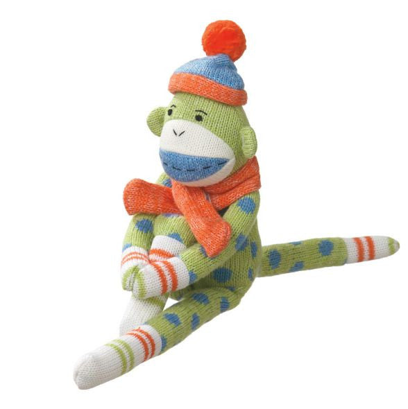 Reese Small Green Polka Dot Sock Monkey Plush Toy