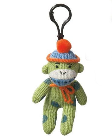 Polka Dot Monkey Clip Green