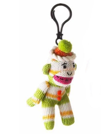 Sock Monkey Plush Toy Clip-on Striped Lime