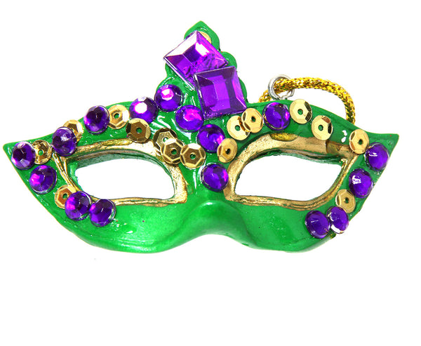 "2"" Green Mask Ornament, Mardi Gras"