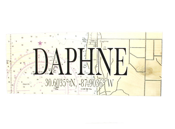 Daphne, Alabama Map Coordinates Plaque