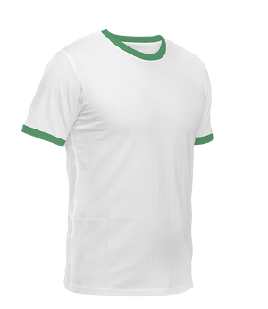 White with Green Ringer T-Shirt