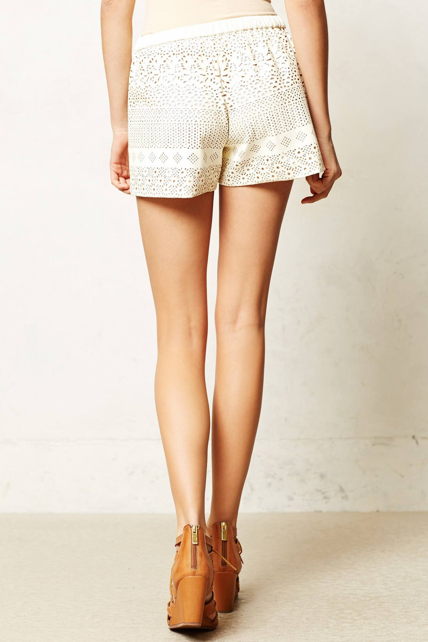 Lasercut Vegan Leather Shorts