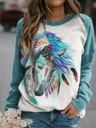 Indian Horse Contrast Color Patchwork Pullover
