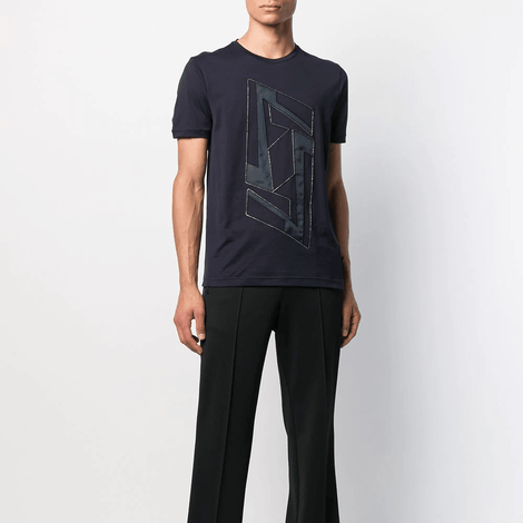 Fendi FF Motif Navy T-Shirt - Men - Apparel - Shirts - T Shirts - Fendi | Gethuda Fashion