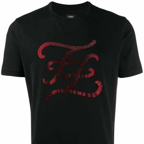 Fendi Rhinesone Karligraphy T-Shirt - Men - Apparel - Shirts - T Shirts - Fendi | Gethuda Fashion
