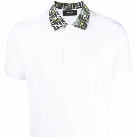 Fendi FF camouflage collar White Polo Shirt