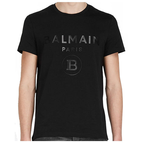 Balmain Paris Black T-Shirt with Glossy logo
