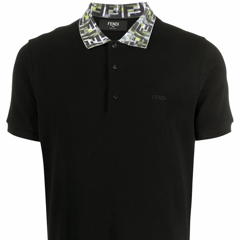 Fendi FF camouflage collar Black Polo Shirt
