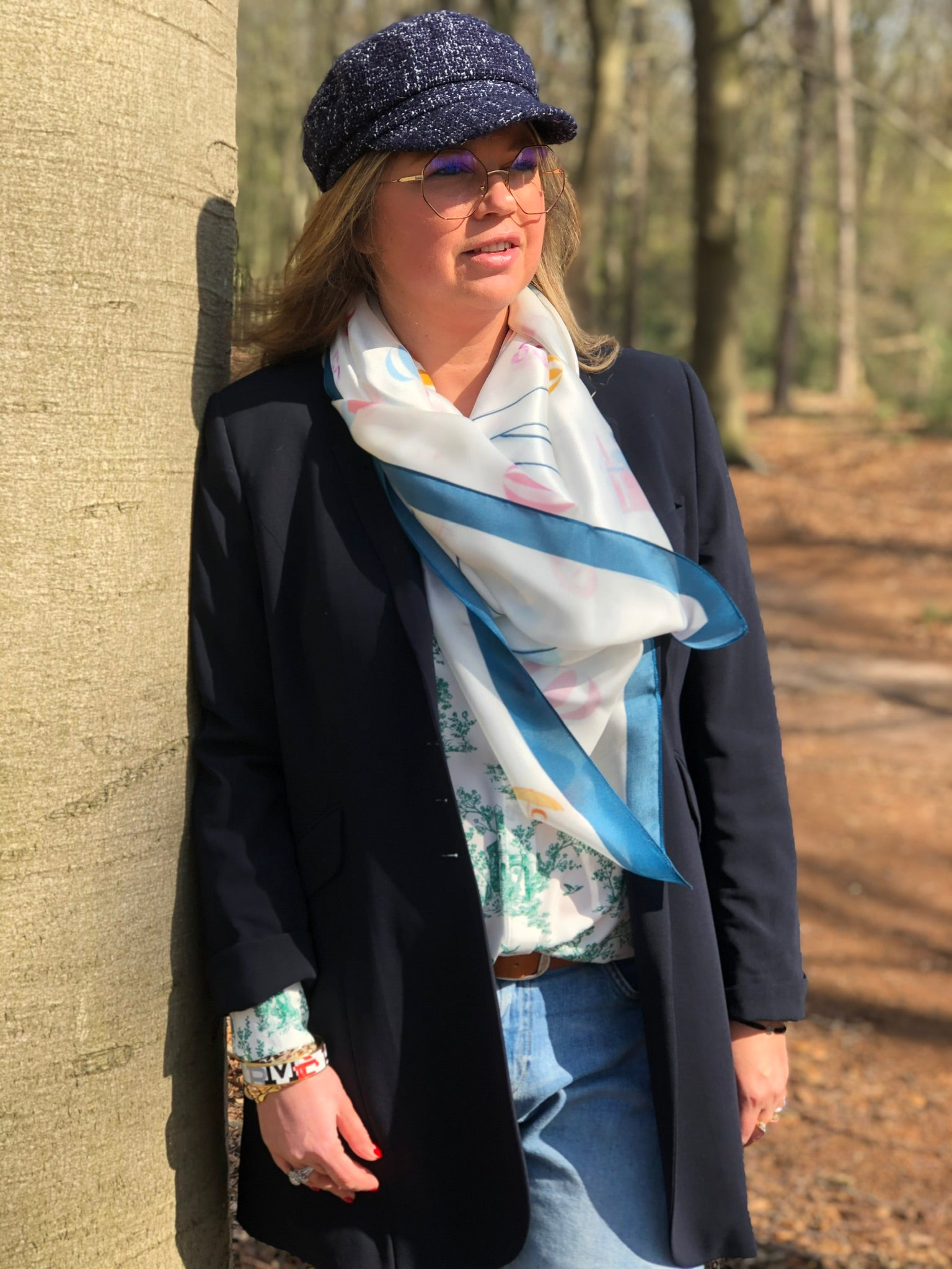 Beachclub '20 White and Blue Silk Square Scarf
