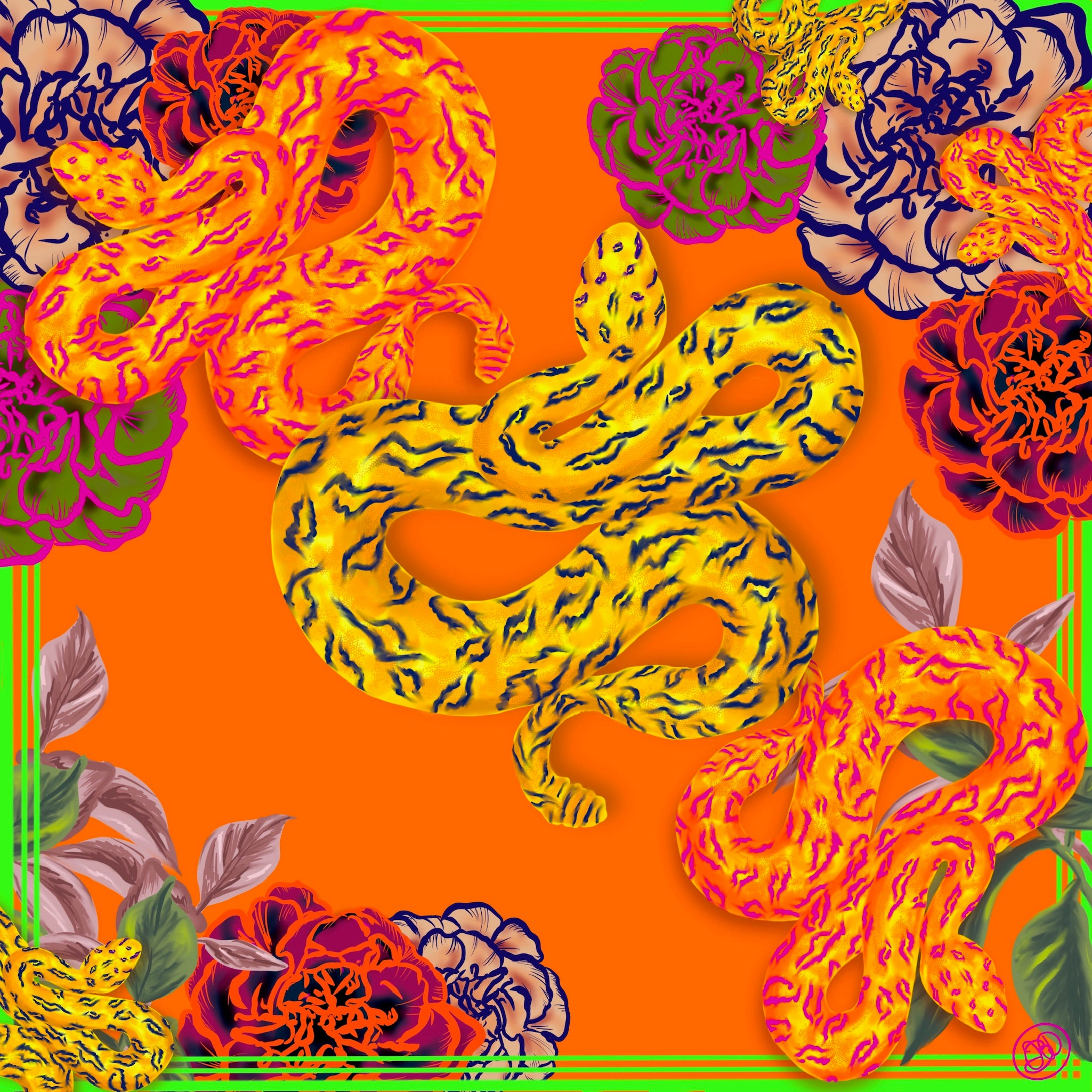 Flower Snake Orange Small Silk Square Scarf