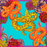 Load image into Gallery viewer, Flower Snake Turquoise Silk Square Scarf