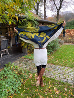 Load image into Gallery viewer, Lace Grace Navy Blue and Mustard Green Silk Square Scarf