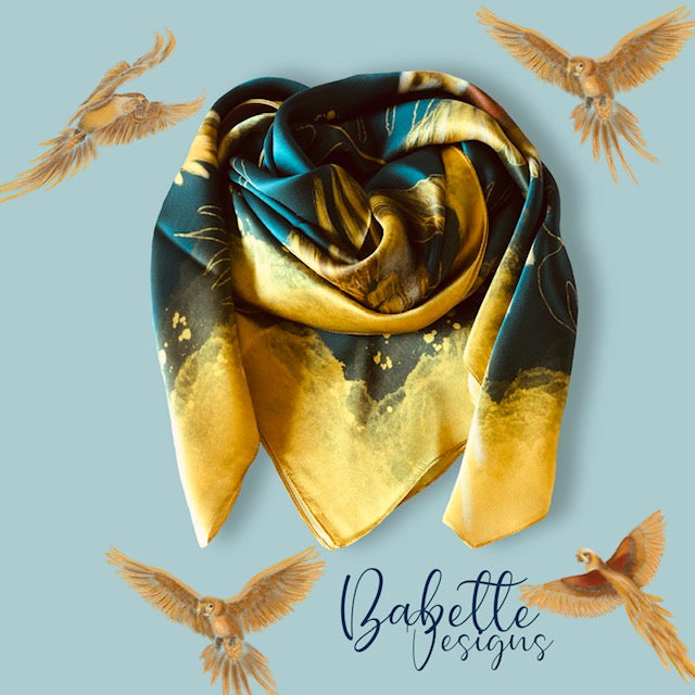 Golden Parrots Green and Gold Silk Square Scarf