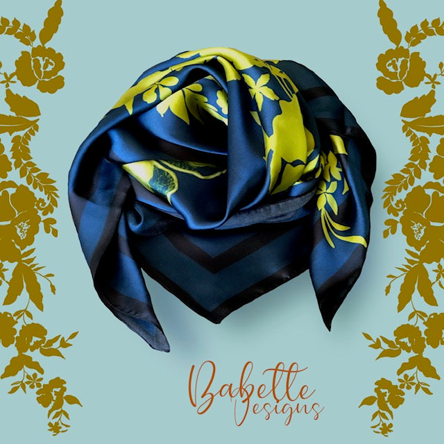 Lace Grace Navy Blue and Mustard Green Silk Square Scarf