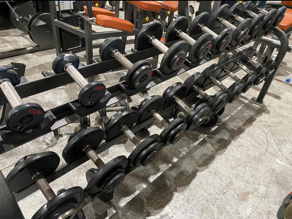 5 - 50lb GPI Prostyle Dumbbell  Set w/ Dumbbell Rack- FREE SHIPPING - Buy & Sell Fitness