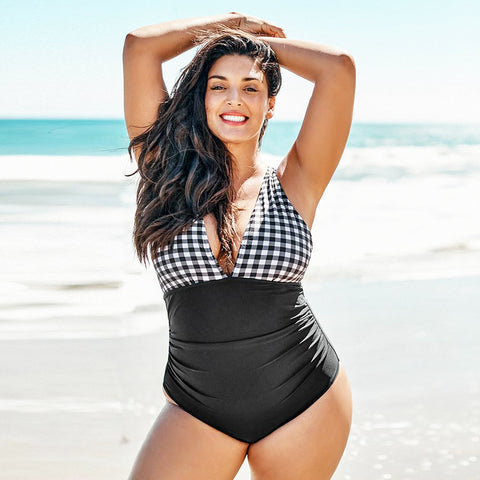 Groovy Gingham Plus Size Swimsuit