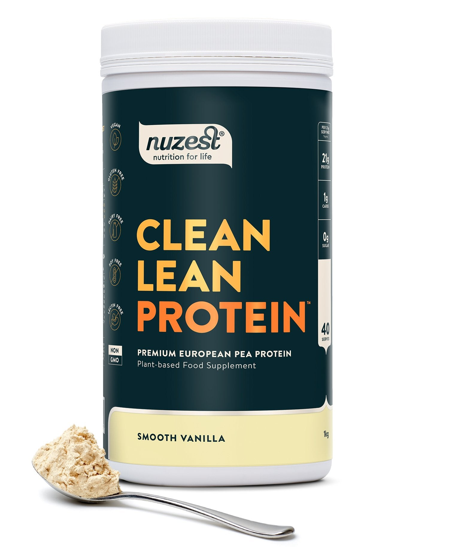 Clean Lean Protein Smooth Vanilla, Organic Pea Protein 1kg