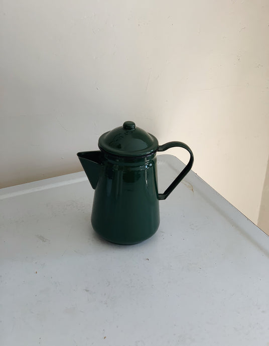 Enamel coffee pot in dark green.
