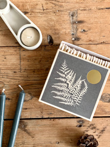 Luxury box of matches with a fern design printed onto the front. Simple, beautiful design. Made in UK using letterpress.