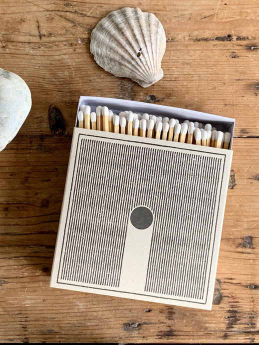 Luxury box of matches with rain design printed onto the front. Simple, beautiful design. Made in UK using letterpress.