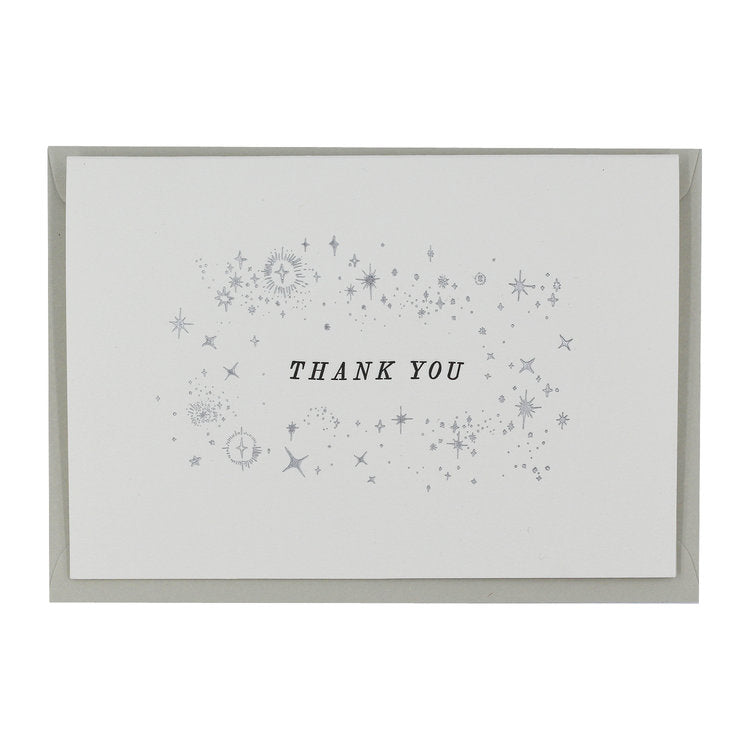STARRY THANK-YOU LETTERPRESS AND HOT FOIL GREETINGS CARD