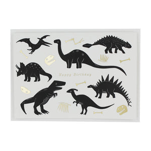 DINOSAUR BIRTHDAY LETTERPRESS AND FOIL GREETING CARD