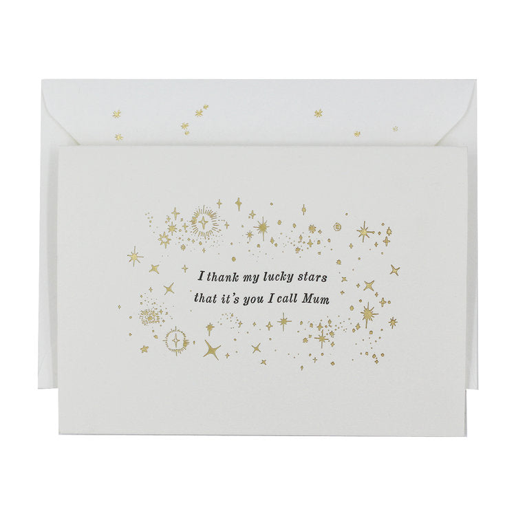 LUCKY STARS MUM LETTERPRESS AND FOIL GREETING CARD