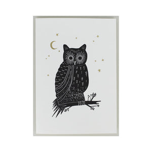 OWL LETTERPRESS AND HOT FOIL GREETINGS CARD