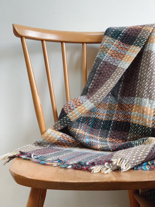 100% recycled throw made in Wales using leftover yarn, Tweedmill.