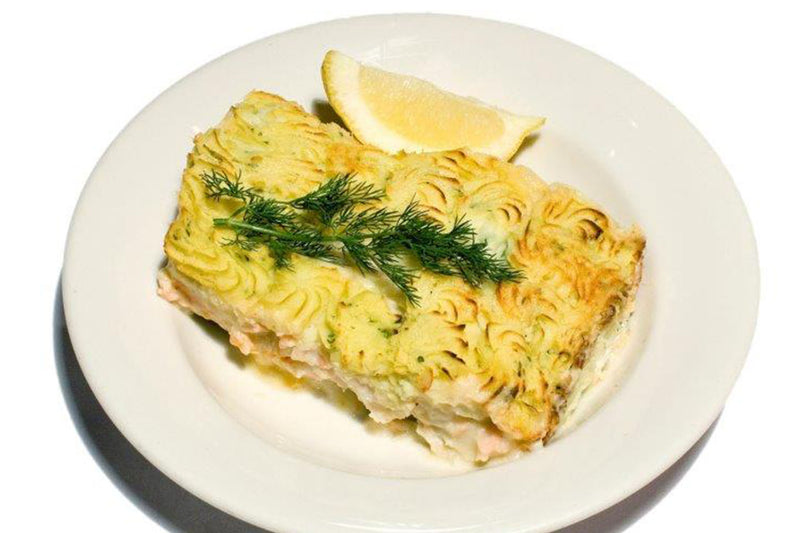 Baked  Fish Pie w fresh Rockling ,Salmon and Smoked Cod